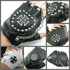 UW22 Handmade Fashion Leather Fingerless Pair Punk Glove Cross Tag Chain/Stud