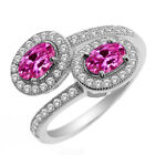 1.85 Ct Oval Pink Created Sapphire 925 Sterling Silver Ring