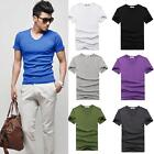 Wholesale Lots Men Casual Slim Shirt Fitted V-neck Short Sleeve Muscle T-Shirts