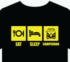 "Mens T-Shirt ""Campervan"" eat sleep gift top fun camping motorhome caravan combi"