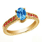 1.35 Ct Oval Checkerboard Swiss Blue Topaz Red Garnet 14K Yellow Gold Ring