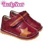 Boys Infant Toddler - Leather Squeaky Shoes Boots - Dark Red / Tan Star