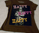 "Duck Dynasty Phil ""Happy Happy Happy""  Girl's Brown T Shirt (XS S M) Cute Shirts"