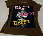 """Duck Dynasty Phil """"Happy Happy Happy""""  Girl's Brown T Shirt (XS S M) Cute Shirts"""