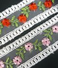 """Upick Red or Pink Embroideries Flower Organza Lace 1-1/2"""" 3.8cm width L532"""