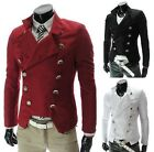 Hot Men's Korean Slim Double Breasted motorcycle Jackets Blazers 3colors X311
