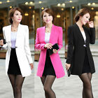 New Women Lady Blazer Suit Jacket Stand Notch Collar Tops Coat Buttonless Career