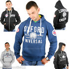 NEW MENS HOODIE PULLOVER JUMPER OXFORD LONDON ENGLAND UNION JACK ZIP S M L XL