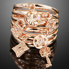 rose gold GP pendant charms CZ Keys charms swarovski crystal finger ring k128