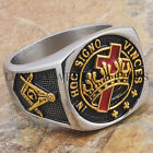 Knights Templar Masonic Ring York Rite Master Freemason 24K Gold Tone Size 9-15