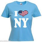 I Love Heart NY New York Ladies Lady Fit T Shirt 13 Colours Size 6 - 16