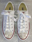 Customised White Crystal Diamante Bling Converse All Star Lo Ribbon Laces UK 4-6