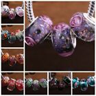 10pcs Multicolor Murano Lampwork Glass Charm Big Hole Bead Fit European Bracelet