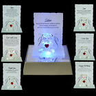 NEW ENGRAVED GLASS CRYSTAL BEAR GIFT ORNAMENT SET POEM POETIC WRITING MESSAGE