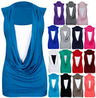 Womens Cowl Neck Contrast Insert Ladies Sleeveless Stretch Long Vest T-Shirt Top