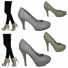 womens new ladies stiletto high heel sequin party prom wedding bridal shoes size
