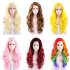 """26"""" Long Curly Wavy Black / Blonde / Pink / Red Lace Front Wig Heat Resistant"""
