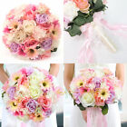 Wedding Artificial Roses Flowers Bridal Bridesmaid Bouquet ButtonhoIe Pink Posy