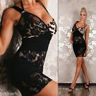 435 Sexy Clubbing Party Stretch Lace Trims Bodycon Black/Brown Dress Size 8 - 10