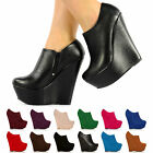 WOMENS LADIES 6.25 INCH HIGH HEEL WEDGE PLATFORM TINA STYLE FULL TOE SHOES SIZE