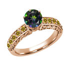 1.24 Ct Round Green Mystic Topaz Yellow Citrine 14K Rose Gold Ring