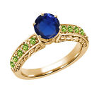 1.36 Ct Round Blue Simulated Sapphire Green Peridot 14K Yellow Gold Ring