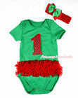 XMAS Kelly Green Red Ruffled Lacing Sparkle Red #1 Baby Jumpsuit Romper NB-12M