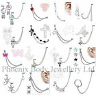 UK SELLER Chain Linked Upper Ear Stud Helix Tragus Cartilage Labret Lobe Earring