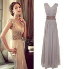 2013 V Neck Cap Sleeve Long Formal Prom Dresses Party Bridesmaid Evening Gowns