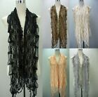 Beautiful Lace Floral Lightweight See Through  Print Scarf Waistcoat Style