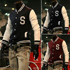 Fall Men's Slim Fit Thin Letter S Baseball Warm Jackets Coats Outer Tops Causal