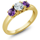 0.95 Ct Sky Blue Aquamarine Purple Amethyst 925 Yellow Gold Plated Silver Ring