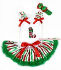 XMAS White Top Christmas Socks Red White Green Stripe Baby Pettiskirt 3-12Month