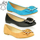 WOMENS LADIES FLAT BALLERINA DOLLY BALLET OFFICE PUMPS METAL SHOES SIZE BLACK