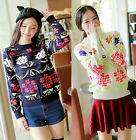 Xmas Ethnic Girls Long Sleeve Floral Embroidered Pullover Sweater Jumper S817#
