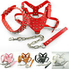 american bully harness - PU Leather Studded Spiked Dog Harness&Collar Set For Pitbull Bully Terrier