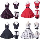 Stock Woman Girl Polka Dot 50s Rockabilly Pinup Party Cocktail Swing Prom Dress