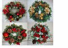 POINSETTIA, APPLE & HOLLY WREATHS - ARTIFICIAL FLOWERS/GRAVE/CHRISTMAS/XMAS