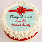 """Personalised Christmas Cake Topper - Your Message - 7.5"""" Round - Icing or Wafer"""