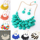 New Women Bubble Bib Statement Necklace Earrings Jewelry Set Chunky Collar Party
