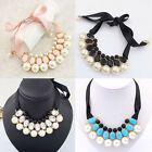 New Women Elegant Pearl Ribbon Bubble Bib Statement Necklace Chunky Collar Party
