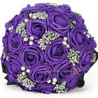 Wedding Purple Foam Roses Bridal Flower Bouquet Sets Pearl Buckle Black Laciness
