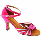 TPS Hot Pink & Silver Latin Ballroom Salsa Custom-made Dance Shoes D973