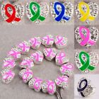 10x Ribbon Breast Cancer Awareness Crystal Heart Charm Spacer Beads 6 Color