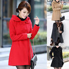 Latest Lady Winter Warm Double Breasted Wool Blend Hooded Coat Overcoat 4 Colors