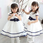 Baby Toddler Girls Formal Party White Gown Dress with Bowtie Waistband 4 Size