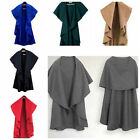 Women Sleeveless Cape Cloak Coat Wool Blends Loose Shawl Poncho Cardigan Tops