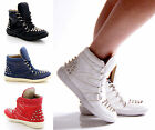 NEW LADIES WOMENS STUD STUDDED FLAT TRAINERS HI-TOP SNEAKERS BOOTS SHOES SIZE