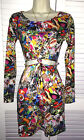 New MISSGUIDED Vibrant Cartoon Comic Kitsch Stretch Bodycon Party DRESS Size 8