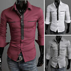 Hot Muscle Mens Casual Slim fit Luxury Stylish Formal Dress Shirts Tops PJ POP